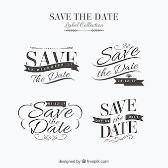 Элегантные свадебные наклейки с ретро-стилем