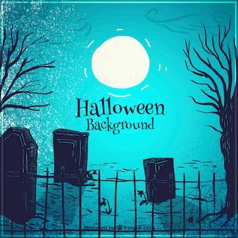 満月の光の中の墓地の影