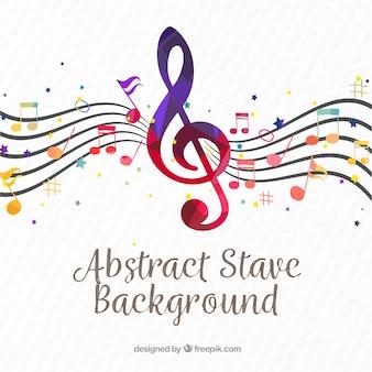 Фон пентаграммы с красочным скрипичным ключом