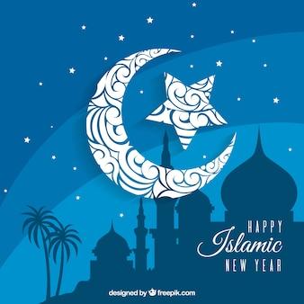 Синий исламский фон нового года