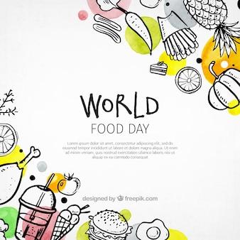 カラフルな世界の食品の日の背景