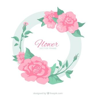 エレガントなバラと円形の花のフレーム