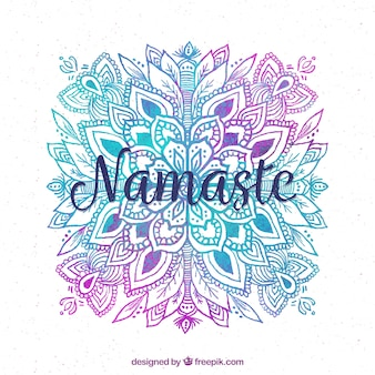ナマステの背景と水彩画の曼荼羅