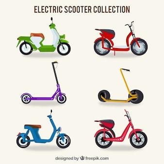 カラフルな電動スクーターのコレクション
