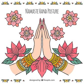 ナマステの挨拶の背景と手描きの花の装飾