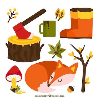 他の秋の要素と狐のセット