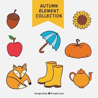 手のパックは、秋の要素を描画