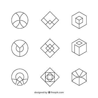 抽象的なモノラインロゴセット