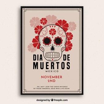 花の頭蓋骨の死者の日のポスター