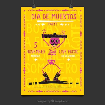 素敵なスケルトンのメキシカンパーティーのポスター
