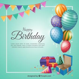 День рождения в плоском дизайне