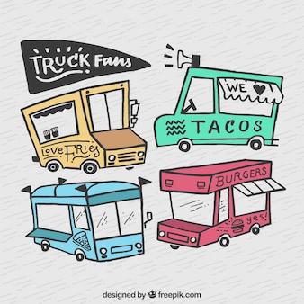 Рисованные грузовики грузовиков с забавным стилем
