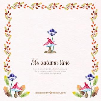 水彩キノコと秋の花の背景