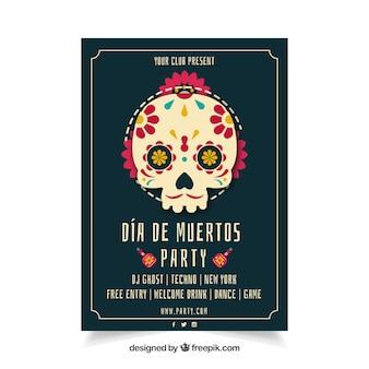 美しい頭蓋骨とメキシカンパーティーのポスター