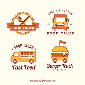食品トラックのロゴの中規模パック