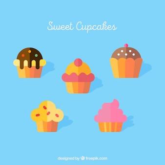 甘いカップケーキのセット