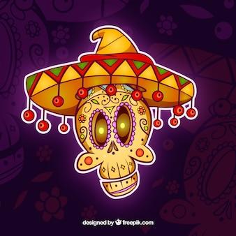 Мексиканский череп с забавным стилем
