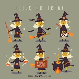Прекрасный набор плоских ведьм