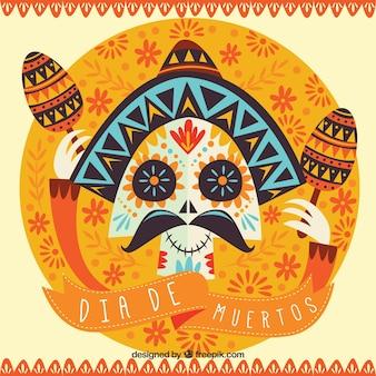 メキシコの頭蓋骨やマラカスの死者の日のレトロ背景