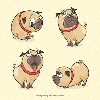Симпатичные мопсы с ручным рисунком