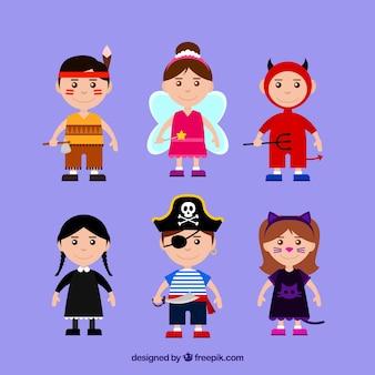 Коллекция детей с костюмами хэллоуина
