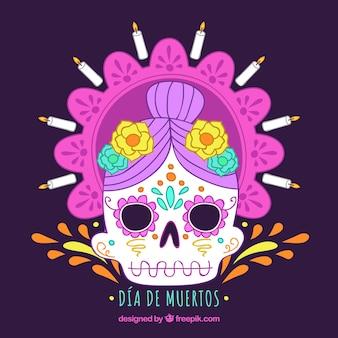 Мексиканский череп с ярким стилем
