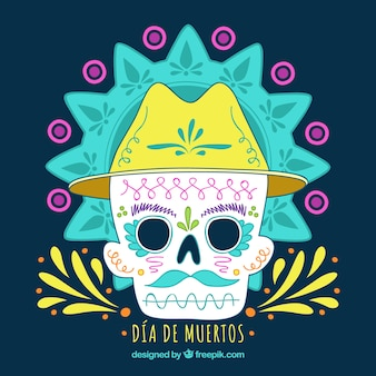 Мексиканский череп с ручным рисунком