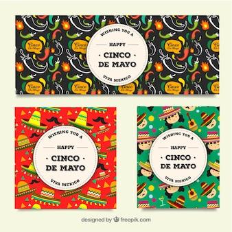 Мексиканские тематические баннеры празднования синко де майо