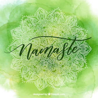 緑色の水彩ナマステの背景