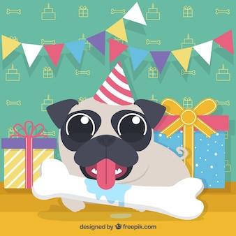誕生日パーティーでおかしいパグ