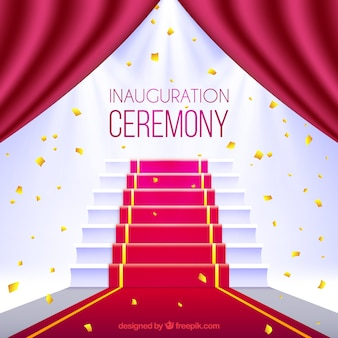 レッドカーペットと階段での式典