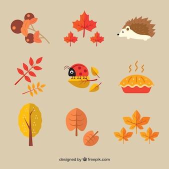 楽しい秋の要素のかわいいパック