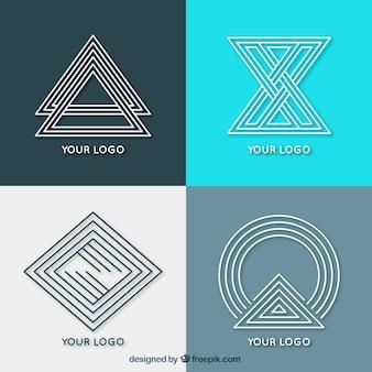 Творческие геометрические монолинные логотипы