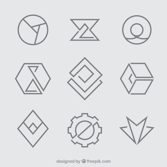 シンプルな幾何学的モノリンのロゴ