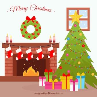 Лаундж-фон с рождественским украшением