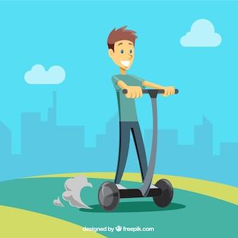 Счастливый человек на электрическом скутере