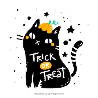 Черная кошка с хэллоуином