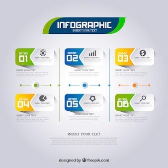 現実的なスタイルのインフォグラフィックスステップ