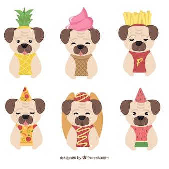 Веселые мопсы с костюмами для еды