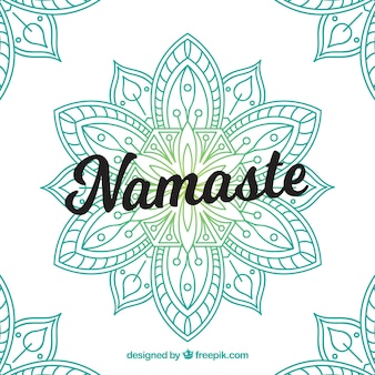 手で描かれた曼荼羅とナマステの背景