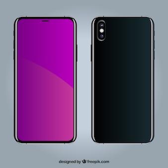 紫色のディスプレイを備えたスマートフォン