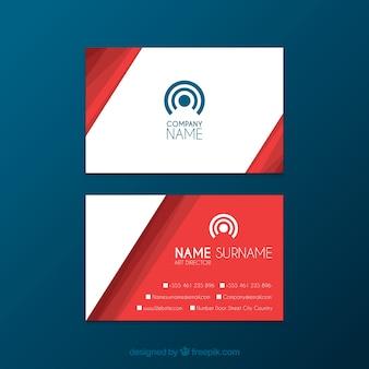 Красная визитная карточка с плоским дизайном