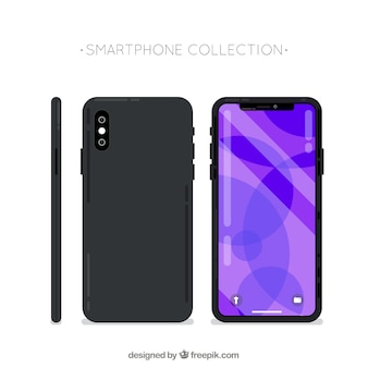 携帯電話の側面、正面、背面