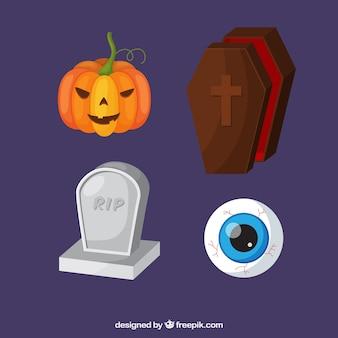 墓や他のハロウィンの要素のパック