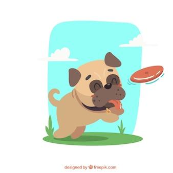 Счастливый мопс, играющий с фризби
