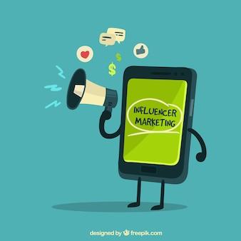 スピーカーを持っているスマートフォンによる影響力のあるマーケティング・ベクトル
