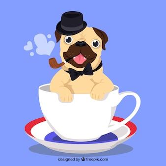 コーヒーカップのエレガントなパグ