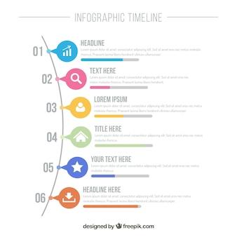 カラフルなアイコンのインフォグラフィックタイムライン