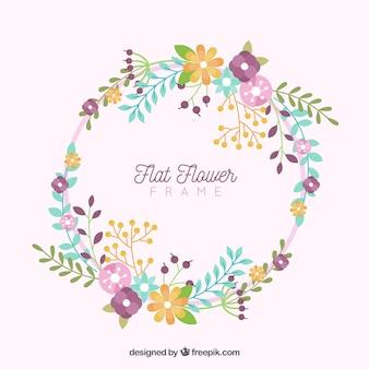 Круглая цветочная рамка с плоским дизайном