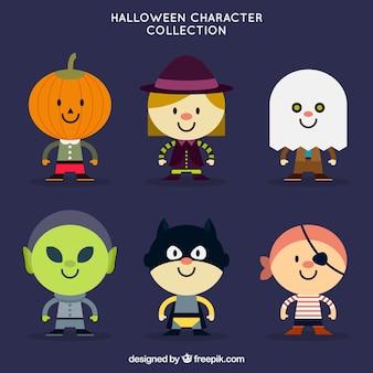 Пакет прекрасных символов хэллоуина в плоском дизайне